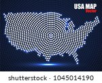 abstract usa map of glowing... | Shutterstock .eps vector #1045014190