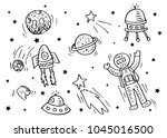 doodle space object background. | Shutterstock .eps vector #1045016500