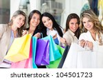 Group Of Shopping Women Looking ...
