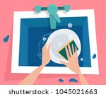 kitchen sink with water. hands... | Shutterstock .eps vector #1045021663