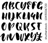 handdrawn dry brush font.... | Shutterstock .eps vector #1045036720
