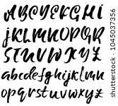 handdrawn dry brush font....   Shutterstock .eps vector #1045037356