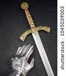 a beautiful ancient sword of...   Shutterstock . vector #1045039003