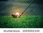 blurred golf club and golf ball ... | Shutterstock . vector #1045042144