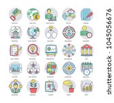 a set of flat business icons   | Shutterstock .eps vector #1045056676