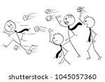 cartoon stick man drawing... | Shutterstock .eps vector #1045057360