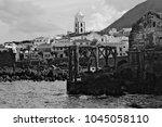 b w landscape of garachico town ... | Shutterstock . vector #1045058110