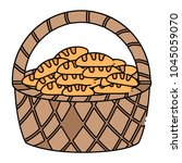 basket with breads icon | Shutterstock .eps vector #1045059070