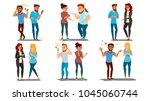 quarrel people set vector.... | Shutterstock .eps vector #1045060744