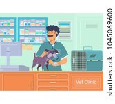 veterinarian examining a dog in ... | Shutterstock .eps vector #1045069600