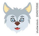 a cute husky dog face with his... | Shutterstock .eps vector #1045070500