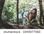 adventure young asia woman... | Shutterstock . vector #1045077583