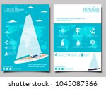 yacht club flyer design with... | Shutterstock .eps vector #1045087366