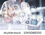 people organisation structure.... | Shutterstock . vector #1045088350