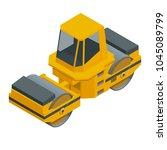 isometric asphalt paver of...   Shutterstock .eps vector #1045089799