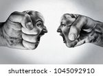 two fists with a male and... | Shutterstock . vector #1045092910