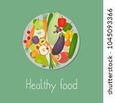 healthy food. plate with... | Shutterstock .eps vector #1045093366