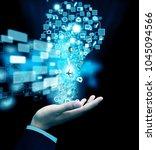 hand holding social media | Shutterstock . vector #1045094566