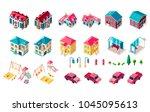 set vector isolated isometric... | Shutterstock .eps vector #1045095613