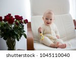 sweet little baby boy  sleeping ... | Shutterstock . vector #1045110040