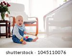 cute little toddler baby boy ... | Shutterstock . vector #1045110076
