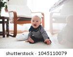 cute little toddler baby boy ... | Shutterstock . vector #1045110079