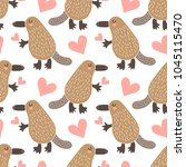 seamless pattern with cute... | Shutterstock . vector #1045115470