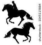running horse and horseback... | Shutterstock .eps vector #1045115884
