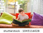 boy reading a book at home. the ... | Shutterstock . vector #1045116028