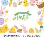 happy easter cute cartoon... | Shutterstock .eps vector #1045116403