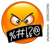 angry emoticon face with... | Shutterstock .eps vector #1045121056