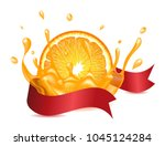 orange with ribbon and liquid... | Shutterstock .eps vector #1045124284