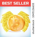 bitcoin with angel wings.... | Shutterstock .eps vector #1045126633