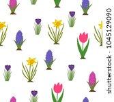 spring flowers pattern.... | Shutterstock .eps vector #1045129090