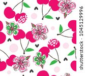 seamless cherry pattern vector...   Shutterstock .eps vector #1045129996