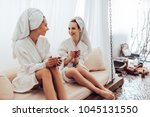 two young women are relaxing in ... | Shutterstock . vector #1045131550
