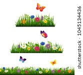 grass border with flower...   Shutterstock . vector #1045134436