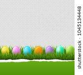 happy easter border transparent ... | Shutterstock . vector #1045134448