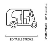 auto rickshaw linear icon. thin ... | Shutterstock .eps vector #1045138813