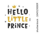 nursery print. hello little... | Shutterstock .eps vector #1045150009