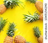 pine apple whole tropical... | Shutterstock . vector #1045154290