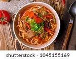 lagman asian soup | Shutterstock . vector #1045155169