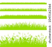 green grass borders set... | Shutterstock .eps vector #1045162366