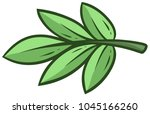 cartoon green branch and leaves ... | Shutterstock .eps vector #1045166260