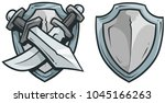 cartoon coat of arms with... | Shutterstock .eps vector #1045166263
