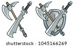 cartoon coat of arms with... | Shutterstock .eps vector #1045166269