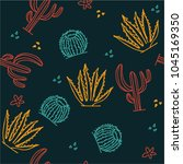 cactus doodle seamless pattern. | Shutterstock .eps vector #1045169350