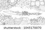 hand drawn dagger surrounding... | Shutterstock .eps vector #1045170070