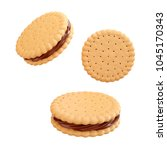 sandwich cookies with chocolate ... | Shutterstock . vector #1045170343