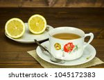 antique teacup and saucer... | Shutterstock . vector #1045172383